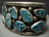 Museum Quality Vintage Zuni Turquoise Sterling Native American Jewelry Silver Dishta Bracelet-Nativo Arts