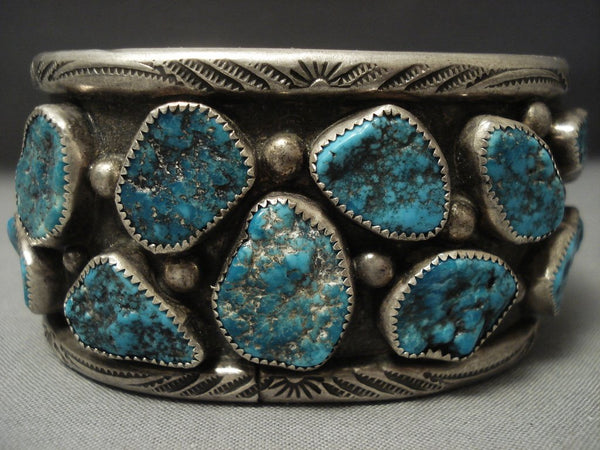 Museum Quality Vintage Zuni Turquoise Sterling Native American Jewelry Silver Dishta Bracelet