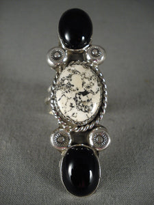Museum Tall Navajo White Buffalo Turquoise Native American Jewelry Silver Ring-Nativo Arts