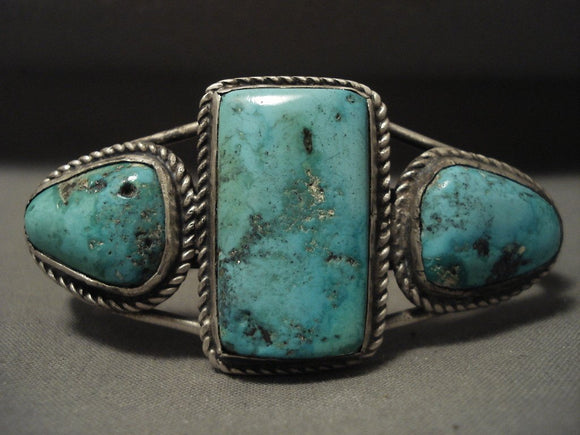 Museum Very Early Vintage Navajo Turquoise Native American Jewelry Silver Bracelet-Nativo Arts