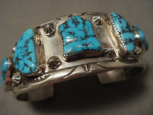 Museum Vintage 1950's Navajo Turquoise Native American Jewelry Silver Bracelet-Nativo Arts