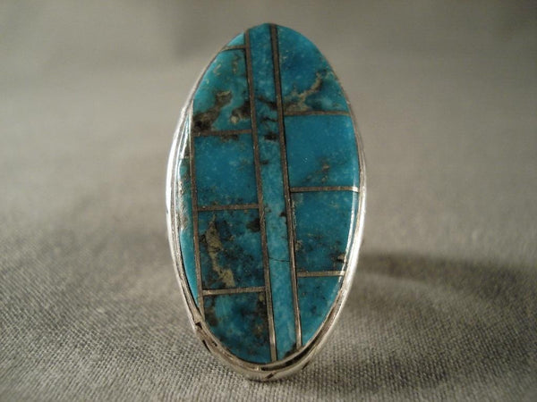 Museum Vintage Blue Diamond Turquoise Native American Jewelry Silver Ring
