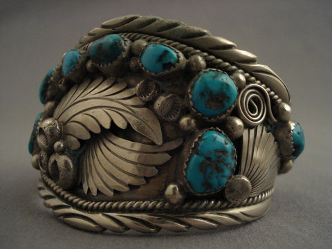 Museum Vintage feather Leaf Native American Jewelry Silver Turquoise Bracelet-Nativo Arts