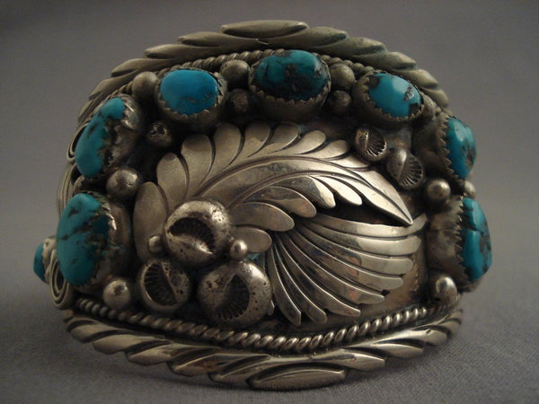 Museum Vintage feather Leaf Native American Jewelry Silver Turquoise Bracelet