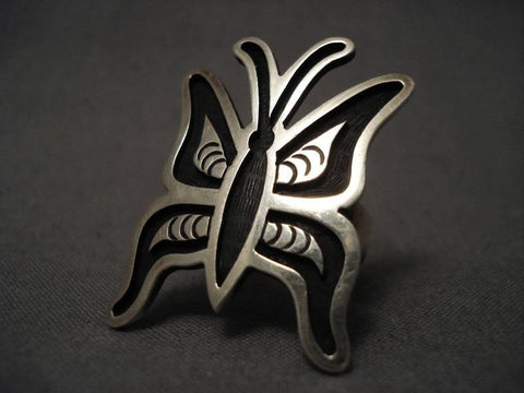 Museum Vintage Hopi Ricky Coochwytewa Huge Butterfly Native American Jewelry Silver Ring-Nativo Arts