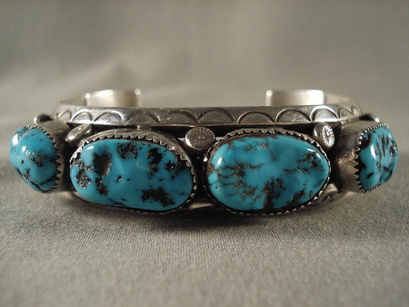 Museum Vintage Hopi Turquoise Native American Jewelry Silver Bracelet Old-Nativo Arts