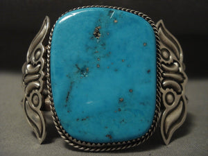 Museum Vintage 'Huge Turquoise' Native American Jewelry Silver Bracelet-Nativo Arts