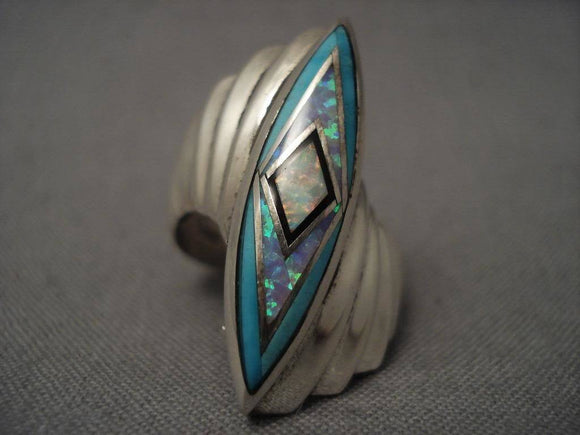 Museum Vintage Jerr Nelson Opal Turquoise Native American Jewelry Silver Ring-Nativo Arts