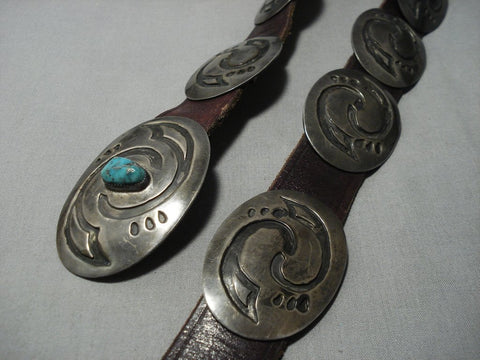 Museum Vintage Native American Jewelry Navajo Hopi Turquoise Sterling Silver Concho Belt Old-Nativo Arts