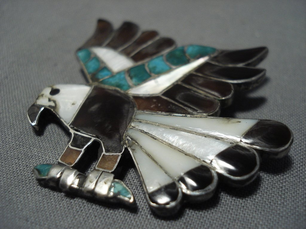... Museum Vintage Native American Jewelry Zuni Turquoise Sterling Silver  Inlay Eagle Pin Old-Nativo Arts ...