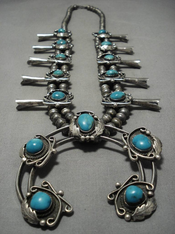 Museum Vintage Native American Navajo Turquoise Sterling Silver Squash Blossom Necklace Old-Nativo Arts