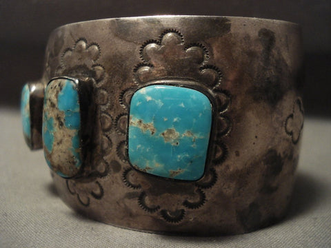 Museum Vintage Navajo #8 Turquoise Native American Jewelry Silver Bracelet-Nativo Arts