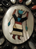 Museum Vintage Navajo 'Ancient Katsina' Turquoise Native American Jewelry Silver Bracelet-Nativo Arts