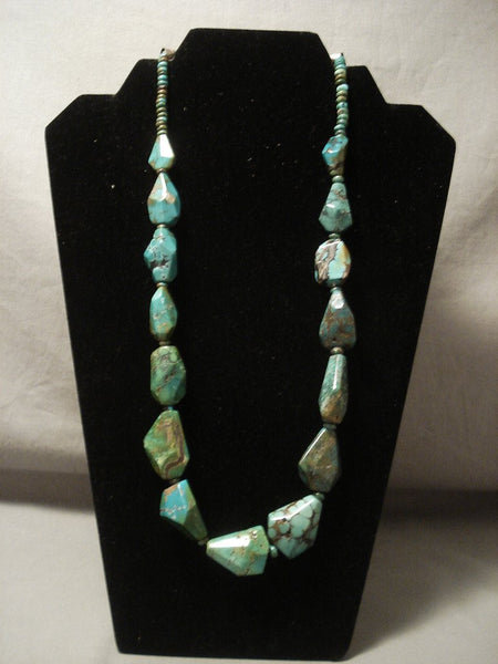 Museum Vintage Navajo 'Artist Shaped' Green Turquoise Native American Jewelry Silver Necklace