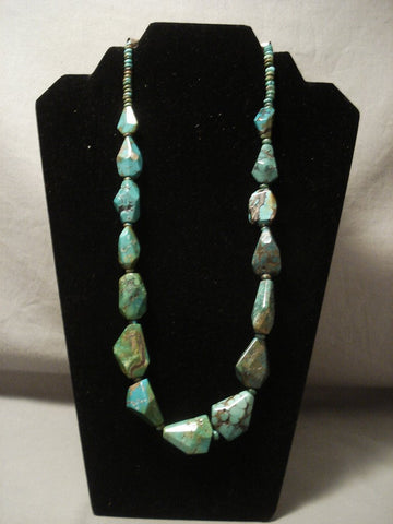 Museum Vintage Navajo 'Artist Shaped' Green Turquoise Native American Jewelry Silver Necklace-Nativo Arts