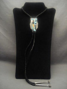 Museum Vintage Navajo Bart Gahate Turquoise Mosaic Inlay Native American Jewelry Silver Bolo Tie-Nativo Arts