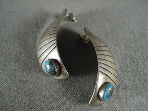 Museum Vintage Navajo Bisbee Turquoise Native American Jewelry Silver Earrings-Nativo Arts