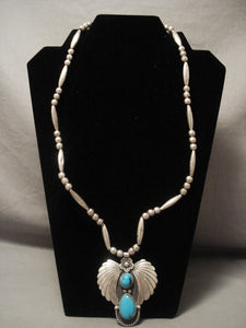 Museum Vintage Navajo Bisbee Turquoise Native American Jewelry Silver Necklace Old Vtg-Nativo Arts