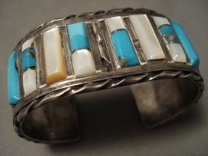 Museum Vintage Navajo Bisbee Turquoise Shell Native American Jewelry Silver Bracelet-Nativo Arts
