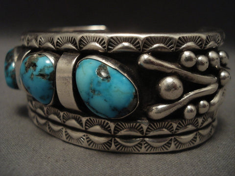 Museum Vintage Navajo blue Carico Lake Turquoise Native American Jewelry Silver Bracelet-Nativo Arts