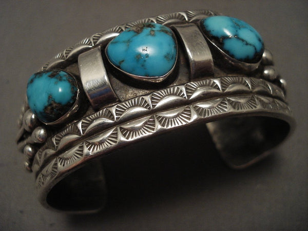 Museum Vintage Navajo blue Carico Lake Turquoise Native American Jewelry Silver Bracelet