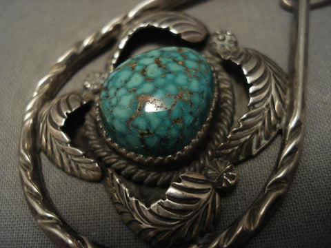 Museum Vintage Navajo Blue Creek Turquoise Native American Jewelry Silver Chain Necklace-Nativo Arts