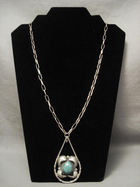 Museum Vintage Navajo Blue Creek Turquoise Native American Jewelry Silver Chain Necklace