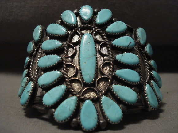 Museum Vintage Navajo Blue 'Tears Of Joy' Native American Jewelry Silver Bracelet Old-Nativo Arts