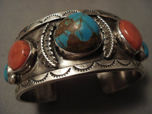 Museum Vintage Navajo 'Bulbous #8 Turquoise' Native American Jewelry Silver Coral Bracelet Old-Nativo Arts