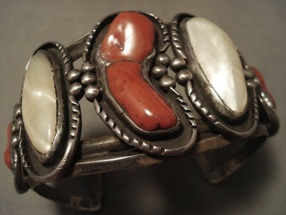 Museum Vintage Navajo 'Chunk Coral' Pearl Native American Jewelry Silver Bracelet-Nativo Arts