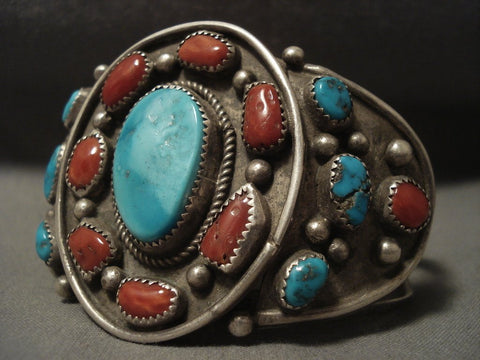 Museum Vintage Navajo Coral Family Turquoise Native American Jewelry Silver Bracelet-Nativo Arts