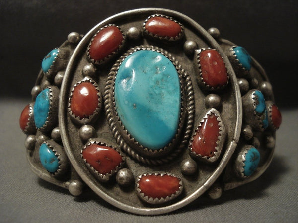 Museum Vintage Navajo Coral Family Turquoise Native American Jewelry Silver Bracelet