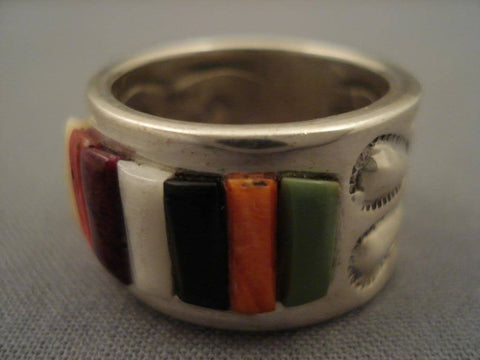 Museum Vintage Navajo Corn Row Turquoise Native American Jewelry Silver Ring-Nativo Arts