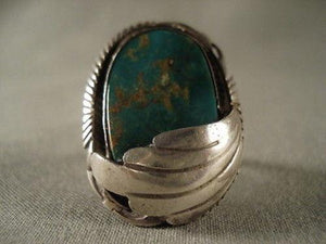 "MUSEUM VINTAGE NAVAJO """"CUVILINEAR MASK"""" SILVER RING OLD-Nativo Arts"