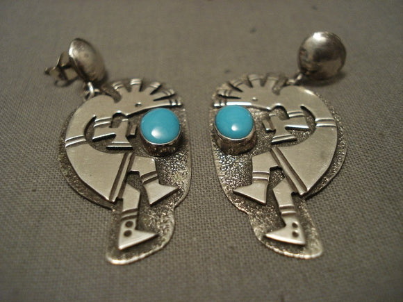 Museum Vintage Navajo Dancing Kokopelli Turquoise Native American Jewelry Silver Earrings-Nativo Arts
