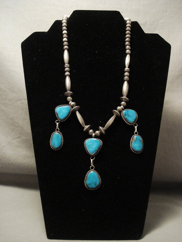 Museum Vintage Navajo Dangling Bisbee Turquoise Native American Jewelry Silver Necklace Old-Nativo Arts
