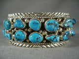 Museum Vintage Navajo Deep Blue Turquoise Native American Jewelry Silver Wave Bracelet-Nativo Arts
