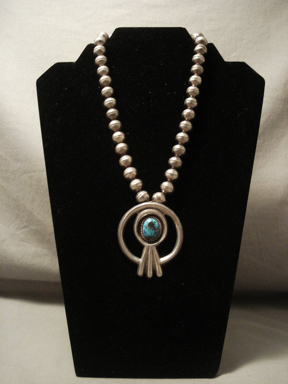 Museum Vintage Navajo 'Domed High Grade Bisbee Turquoise' Native American Jewelry Silver Necklace-Nativo Arts