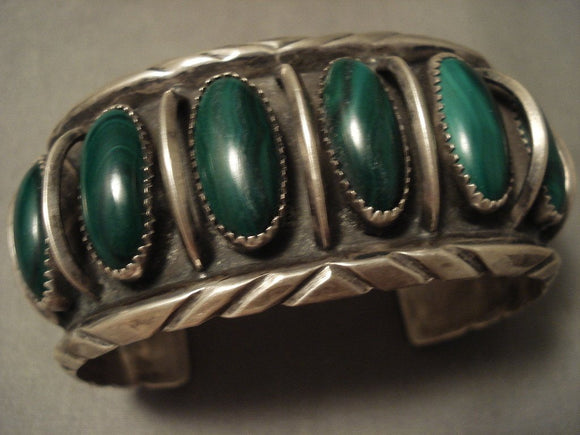 Museum Vintage Navajo 'Domed Malachite' Native American Jewelry Silver Bracelet-Nativo Arts