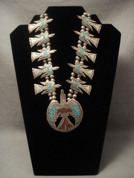 Museum Vintage Navajo Early Singer Family Waterbird Native American Jewelry Silver Necklace