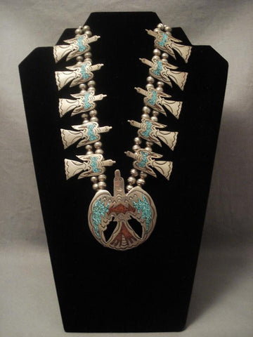 Museum Vintage Navajo Early Singer Family Waterbird Native American Jewelry Silver Necklace-Nativo Arts