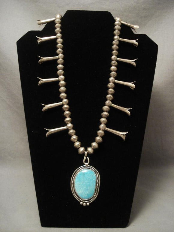 Museum Vintage Navajo Easter Blue Turquoise Native American Jewelry Silver Necklace-Nativo Arts
