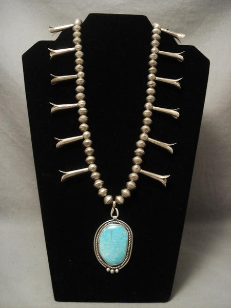 Museum Vintage Navajo Easter Blue Turquoise Native American Jewelry Silver Necklace