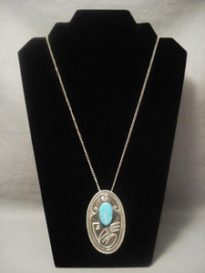 Museum Vintage Navajo Geometric Easter Blue Turquoise Native American Jewelry Silver Necklace-Nativo Arts