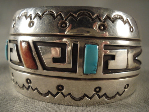 Museum Vintage Navajo Geometric Native American Jewelry Silver Bracelet Old-Nativo Arts