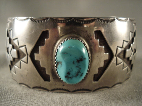 Museum Vintage Navajo Gloria Mike Turquoise Native American Jewelry Silver Bracelet Old-Nativo Arts