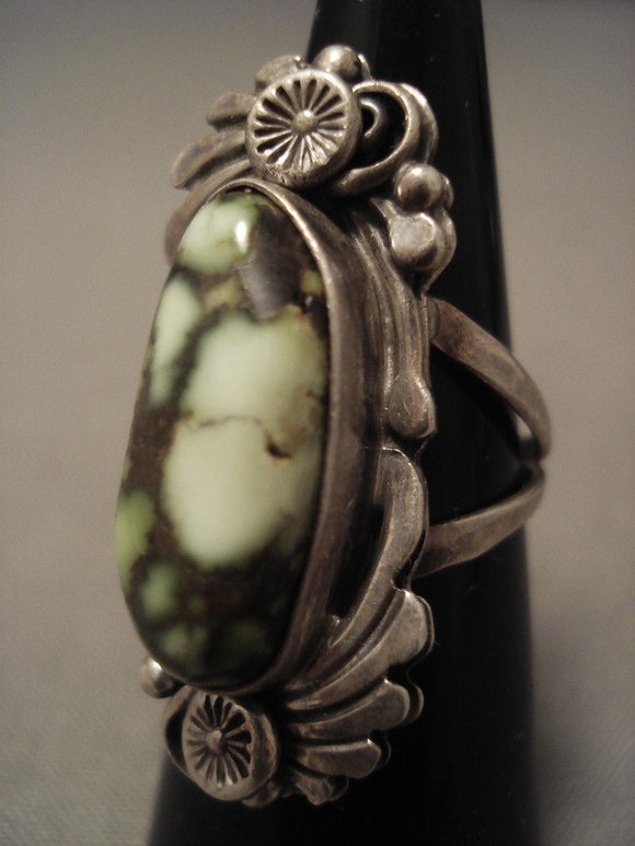 Museum Vintage Navajo green Lander Turquoise Native American Jewelry Silver Ring-Nativo Arts