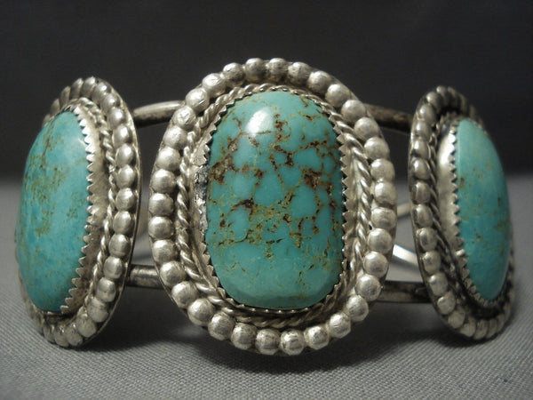 Museum Vintage Navajo Green Royston Turquoise Sterling Native American Jewelry Silver Bracelet Old