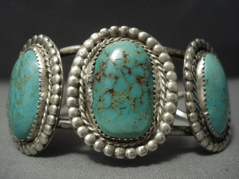 Museum Vintage Navajo Green Royston Turquoise Sterling Native American Jewelry Silver Bracelet Old-Nativo Arts