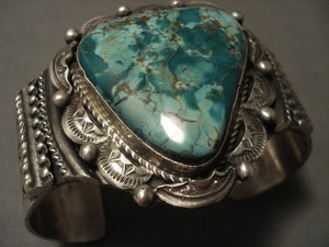 Museum Vintage Navajo Green Spiderweb Turquoise Native American Jewelry Silver Bracelet-Nativo Arts